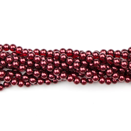 6mm Round Crystal Pearl - Cranberry***