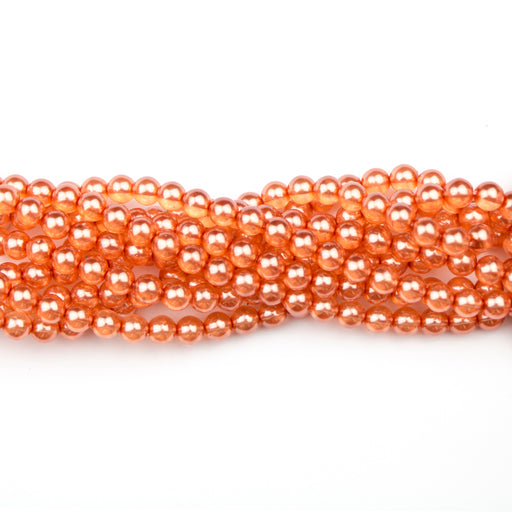 6mm Round Crystal Pearl - Coral***