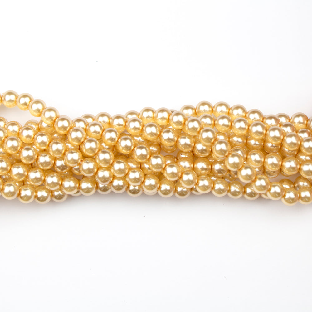6mm Round Crystal Pearl - Gold***
