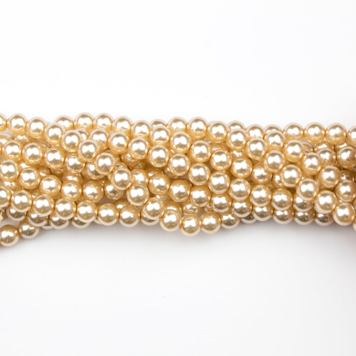 6mm Round Crystal Pearl - Light Gold***