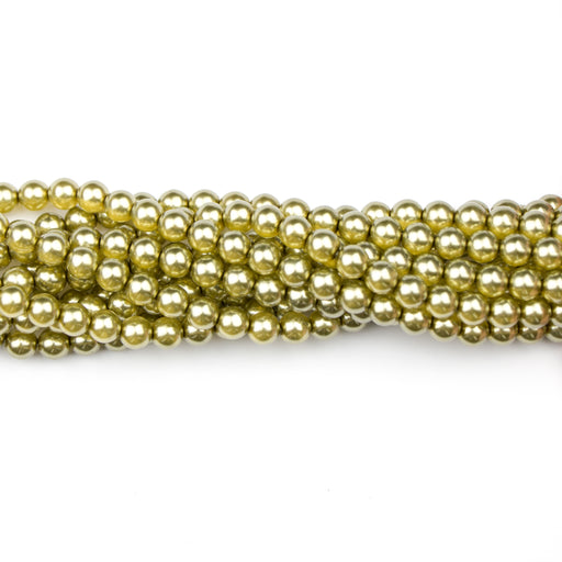 6mm Round Crystal Pearl - Olive***