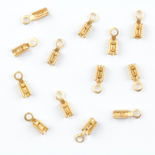 1mm Beading Chain End Tip w/Loop - Satin Hamilton Gold