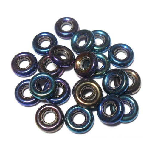 Czech 9mm OD Pressed Glass Rings - Blue Iris