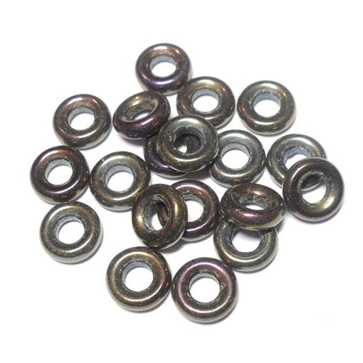 Czech  9mm OD Pressed Glass Rings - Brown Iris