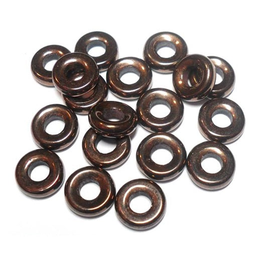 Czech  9mm OD Pressed Glass Rings - Bronze