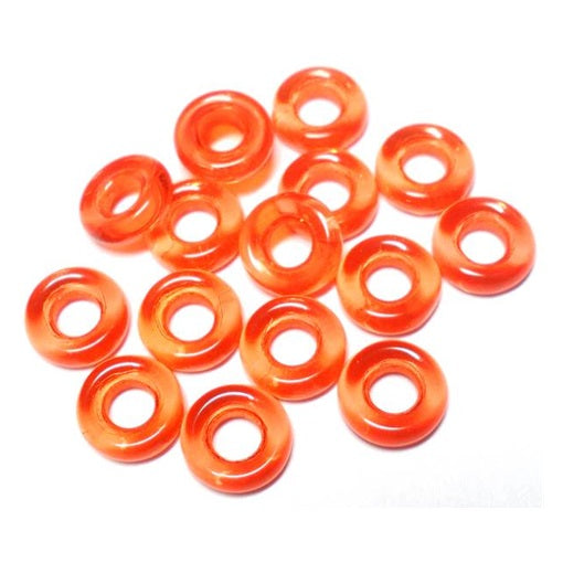 Czech  9mm OD Pressed Glass Rings - Orange