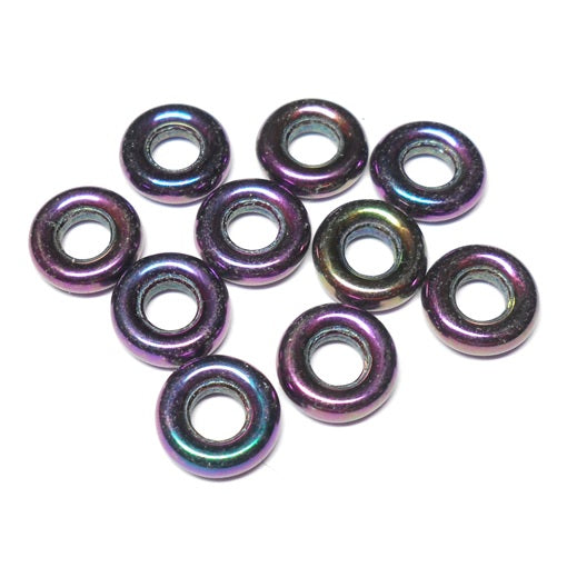 Czech 9mm OD Pressed Glass Rings - Purple Iris