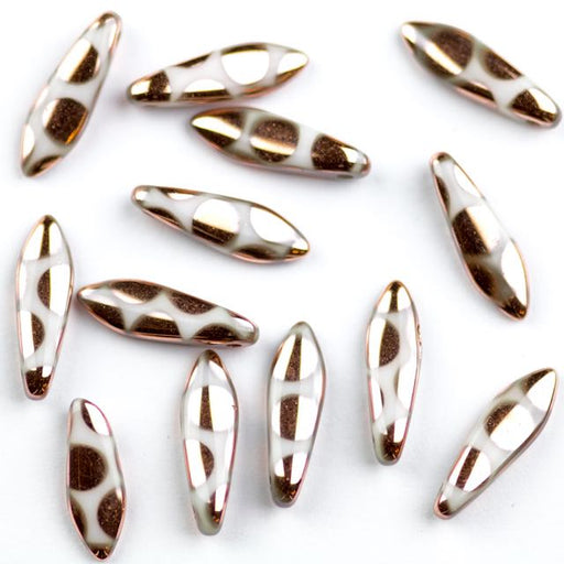 5mm x 16mm DAGGER Bead - Alabaster Capri Gold Dots