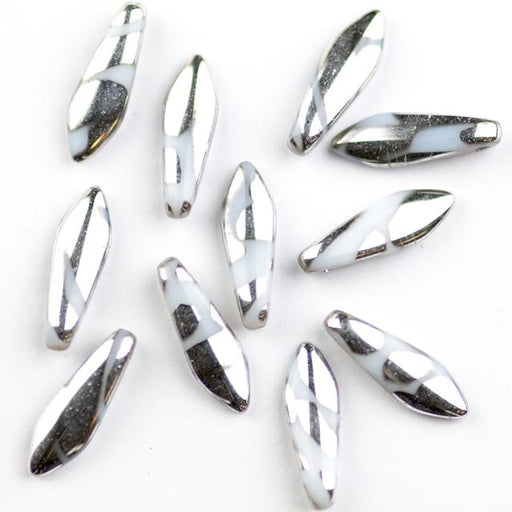 5mm x 16mm DAGGER Bead - Alabaster Labrador Stripes