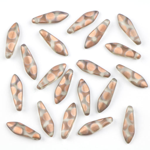 5mm x 16mm DAGGER Bead - Crystal Capri Gold Dots Matte