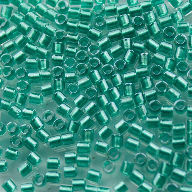 8/0 Miyuki DELICA Beads - Sparkling Aqua Green Lined Crystal