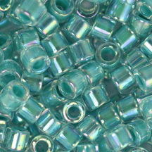 10/0 Miyuki DELICA Beads - Turquoise Green Lined Crystal AB