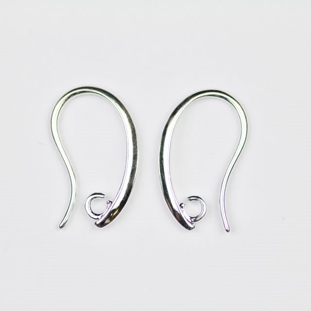 19mm x 11mm Ear Wire with 2mm Ring - Silver
