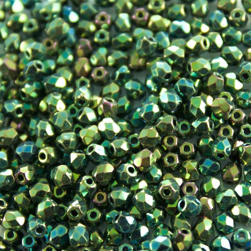 3mm FIRE POLISHED Bead - Jet Green Iris