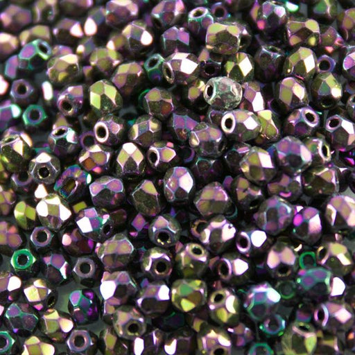 3mm FIRE POLISHED Bead - Jet Purple Iris