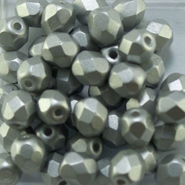 4mm FIRE POLISHED Bead - Alabaster Metallic Silver