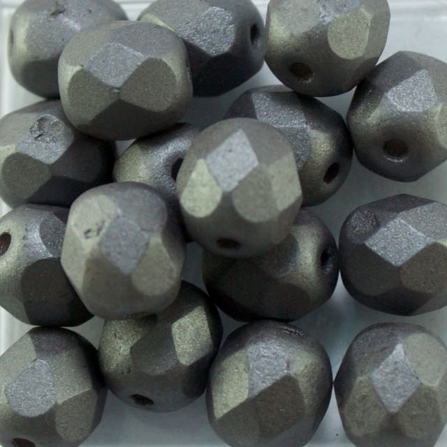 6mm FIRE POLISHED Bead - Alabaster Metallic Steel