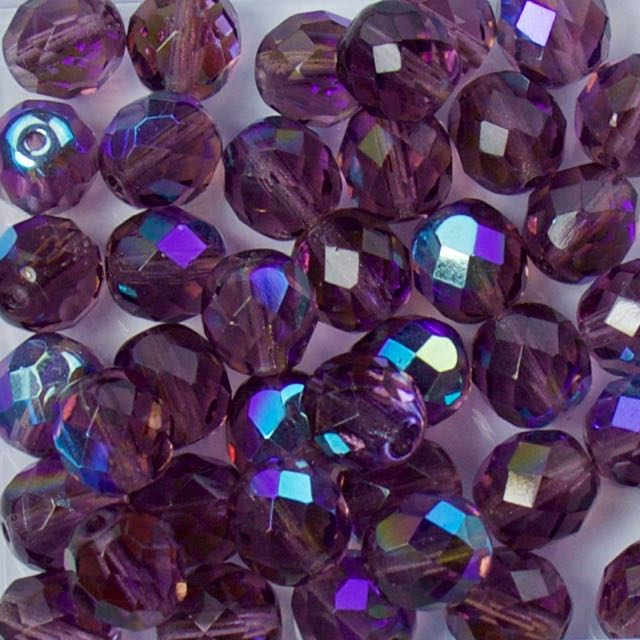 8mm FIRE POLISHED Bead - Amethyst AB