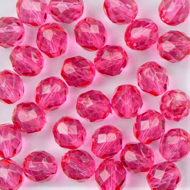 8mm FIRE POLISHED Bead - Crystal Rose