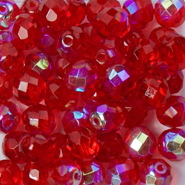 8mm FIRE POLISHED Bead - Red AB