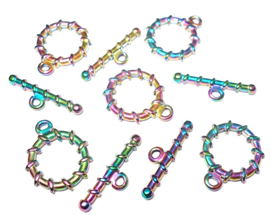Electroplated Rainbow Stainless Steel Spiral Toggle Clasp