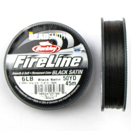 6 LB Microfused Braided Bead Thread - Black  Satin