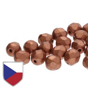 4mm FIRE POLISHED Bead (Czech Shield) - Crystal Bronze Copper***