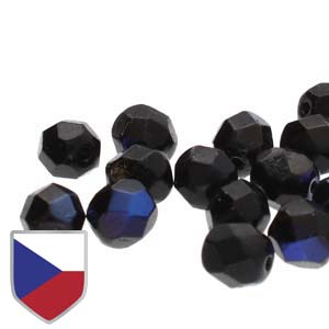 4mm FIRE POLISHED Bead (Czech Shield) - Jet Azuro***