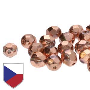 6mm FIRE POLISHED Bead (Czech Shield) - Crystal Full Capri Gold***