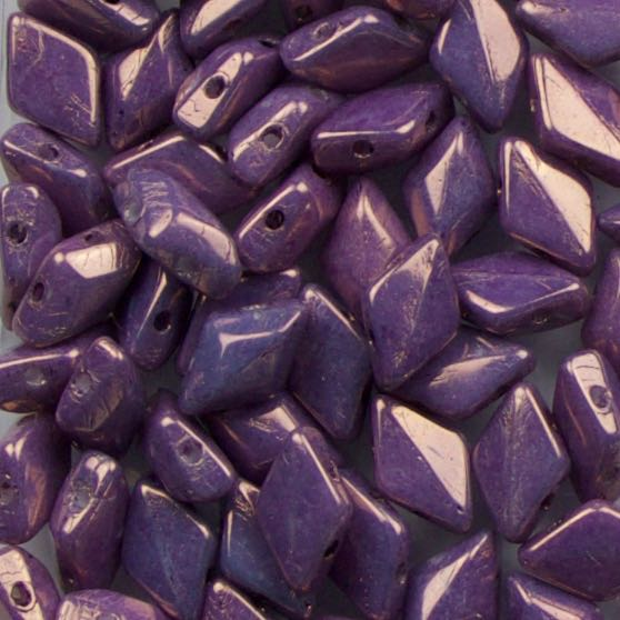 Two-Hole 8mm x 5mm GEMDUO Bead - Chalk Vega Purple