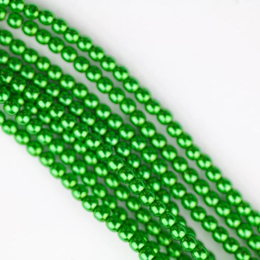 2mm Round  Glass Pearl - Xmas Green