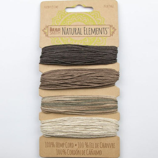 4 x 9.1 meters (30 feet) of 1mm 20 lb test 100% Hemp Cord - Neutral Colours