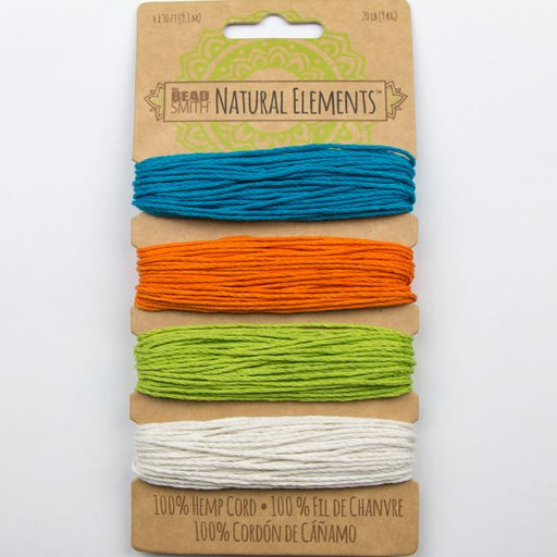 4 x 9.1 meters (30 feet) of 1mm 20 lb test 100% Hemp Cord - Bright Colours