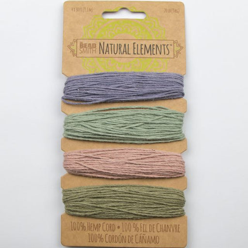 4 x 9.1 meters (30 feet) of 1mm 20 lb test 100% Hemp Cord - Vintage Colours