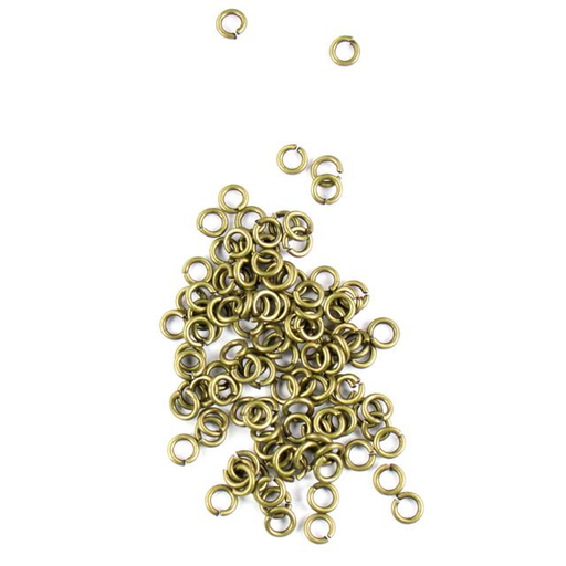 4mm 21g Open Jump Rings - Antique Brass