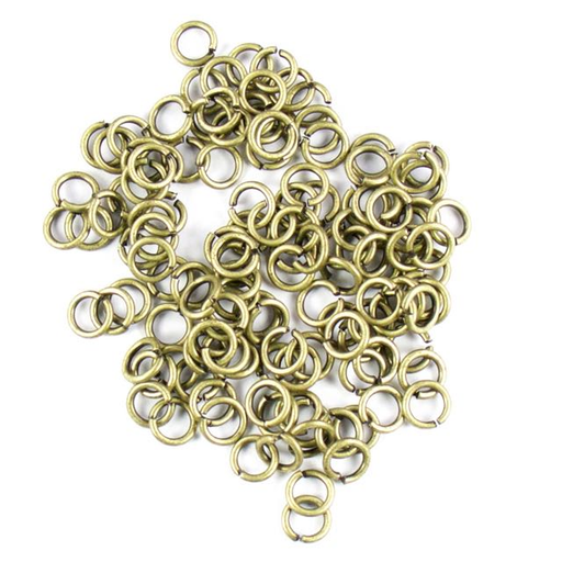 6mm 21g Open Jump Rings - Antique Brass