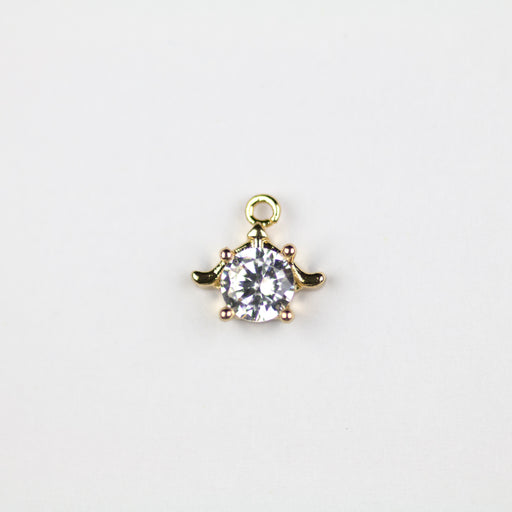 Sea Turtle Cubic Zirconia Charm - Gold