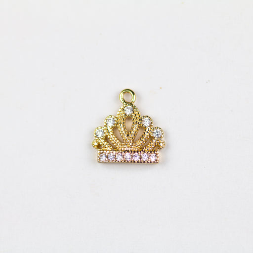 Crown Cubic Zirconia Charm - Gold