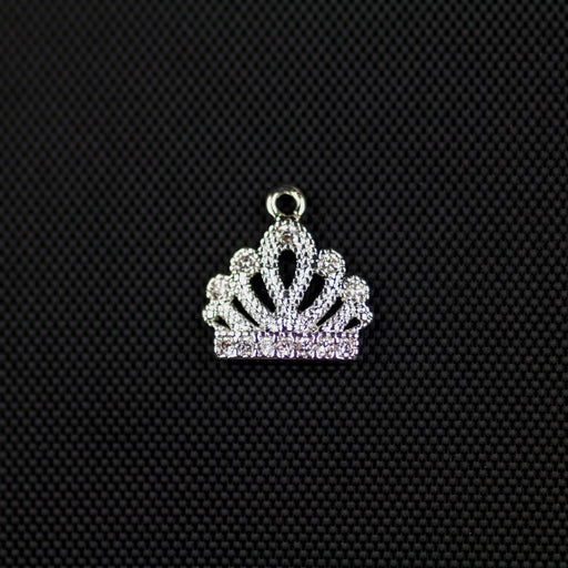 Crown Cubic Zirconia Charm - Silver***