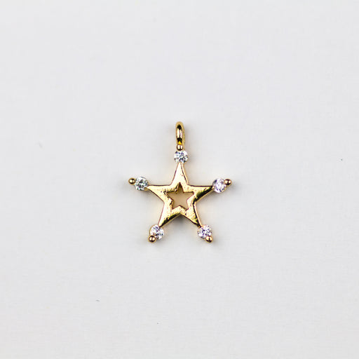 Star Cubic Zirconia Charm - Gold***