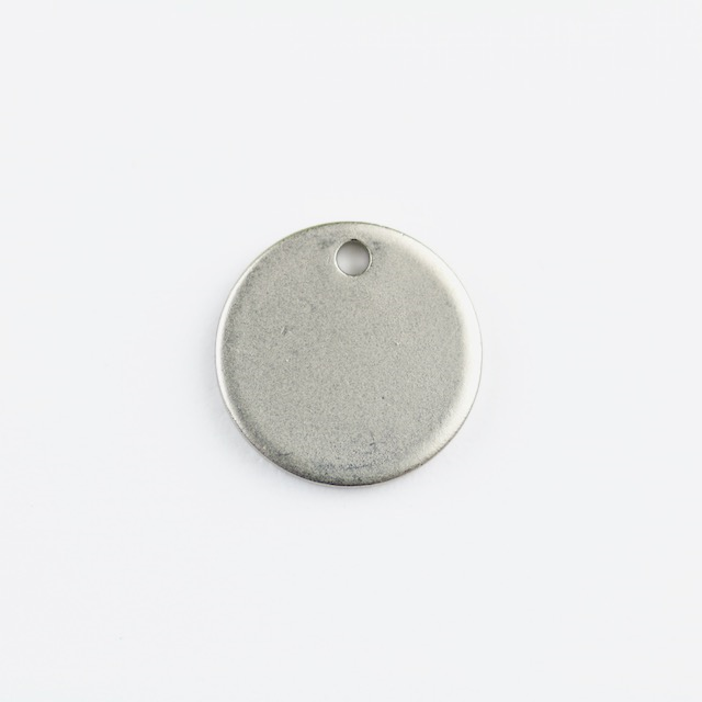12mm Round Disc Charm - Rhodium