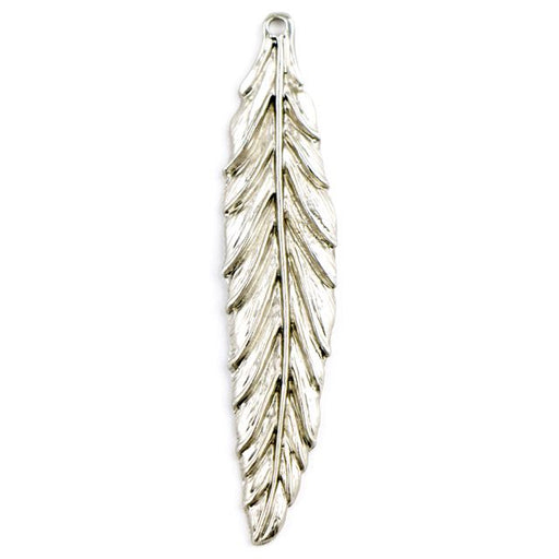 57mm Large Feather Charm - Rhodium