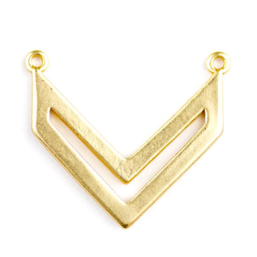 22 x 19mm Chevron Style Pendant (2 holes) - Satin Hamilton Gold