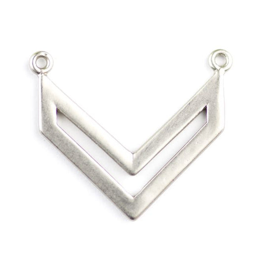 23 x 19mm Chevron Style Pendant (2 holes) - Rhodium