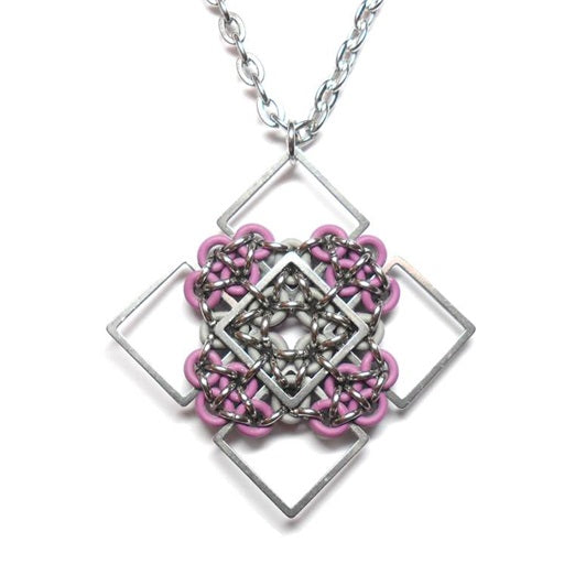 HyperLynks Patchwork Pendant Kit - Plum and Pewter