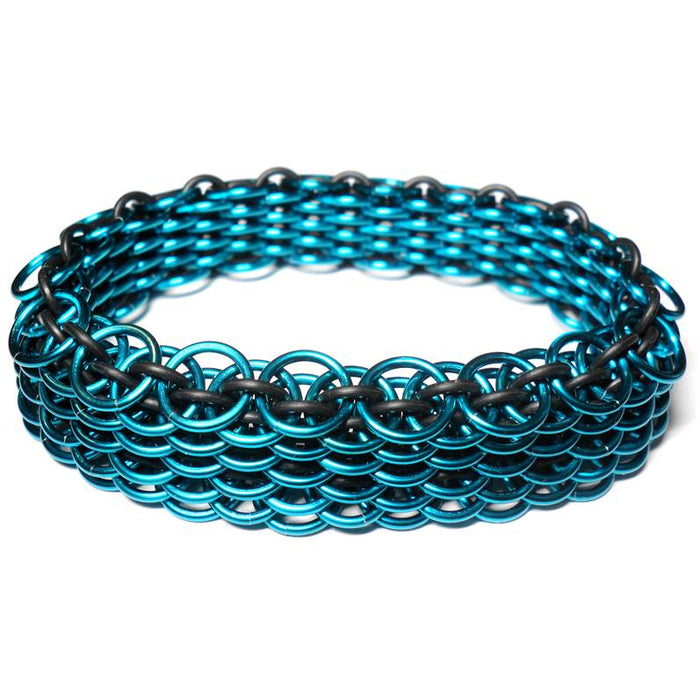 HyperLynks Stretchy Dragonscale Bracelet Kit - Teal Anodized Aluminum and Black EPDM