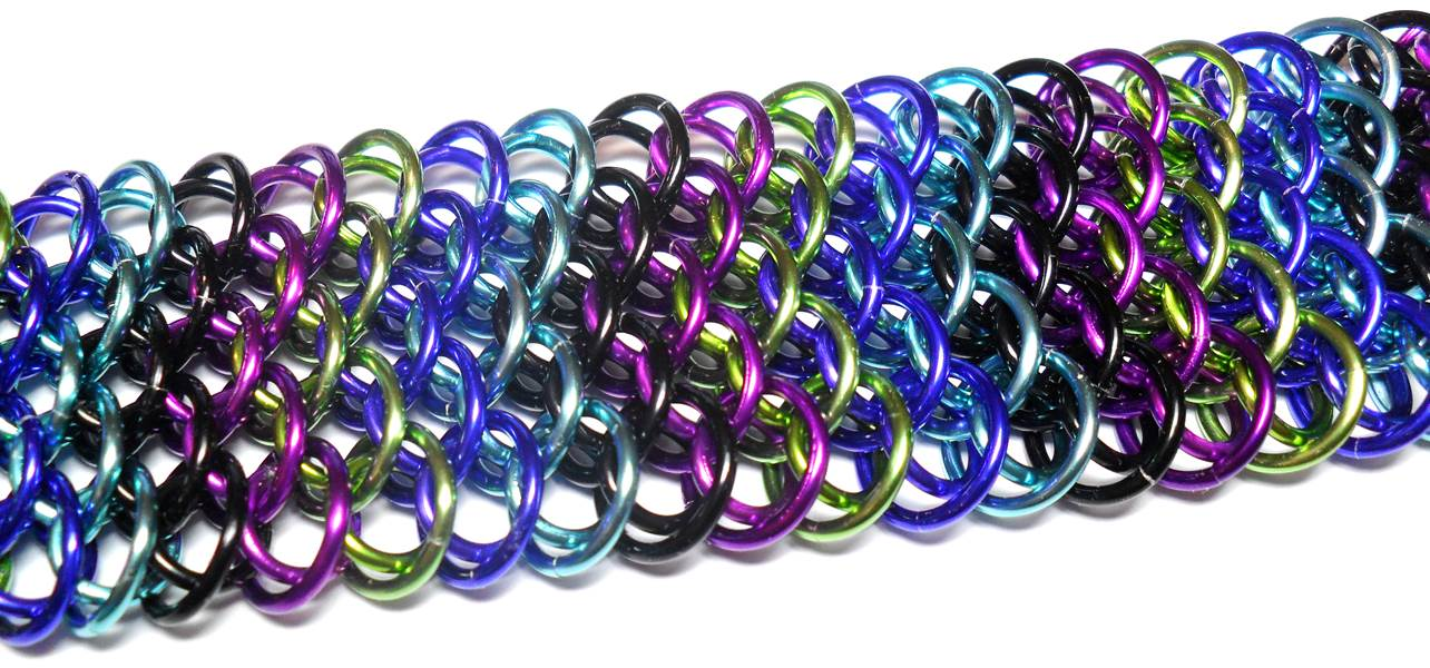 HyperLynks Designer Dragonscale Kit: Chevrons - Bold Tones (Black, Violet, Lime, Purple, and Turquoise with a Black stainless steel lobster clasp)***