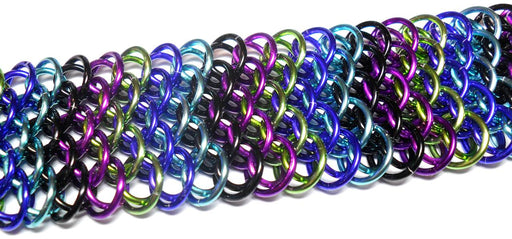 HyperLynks Designer Dragonscale Kit: Chevrons - Bold Tones (Black, Violet, Lime, Purple, and Turquoise with a Black stainless steel lobster clasp)