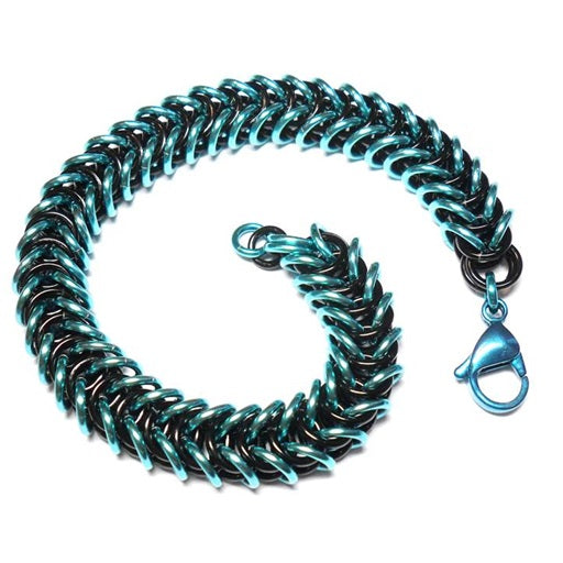 HyperLynks Box Chain Bracelet Kit - Turquoise and Black