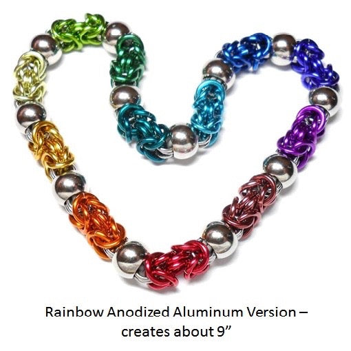 HyperLynks Beads of Steel Bracelet - Anodized Aluminum Rainbow